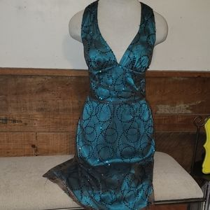 Molly New York size 2 sequin dress Green teal mesh